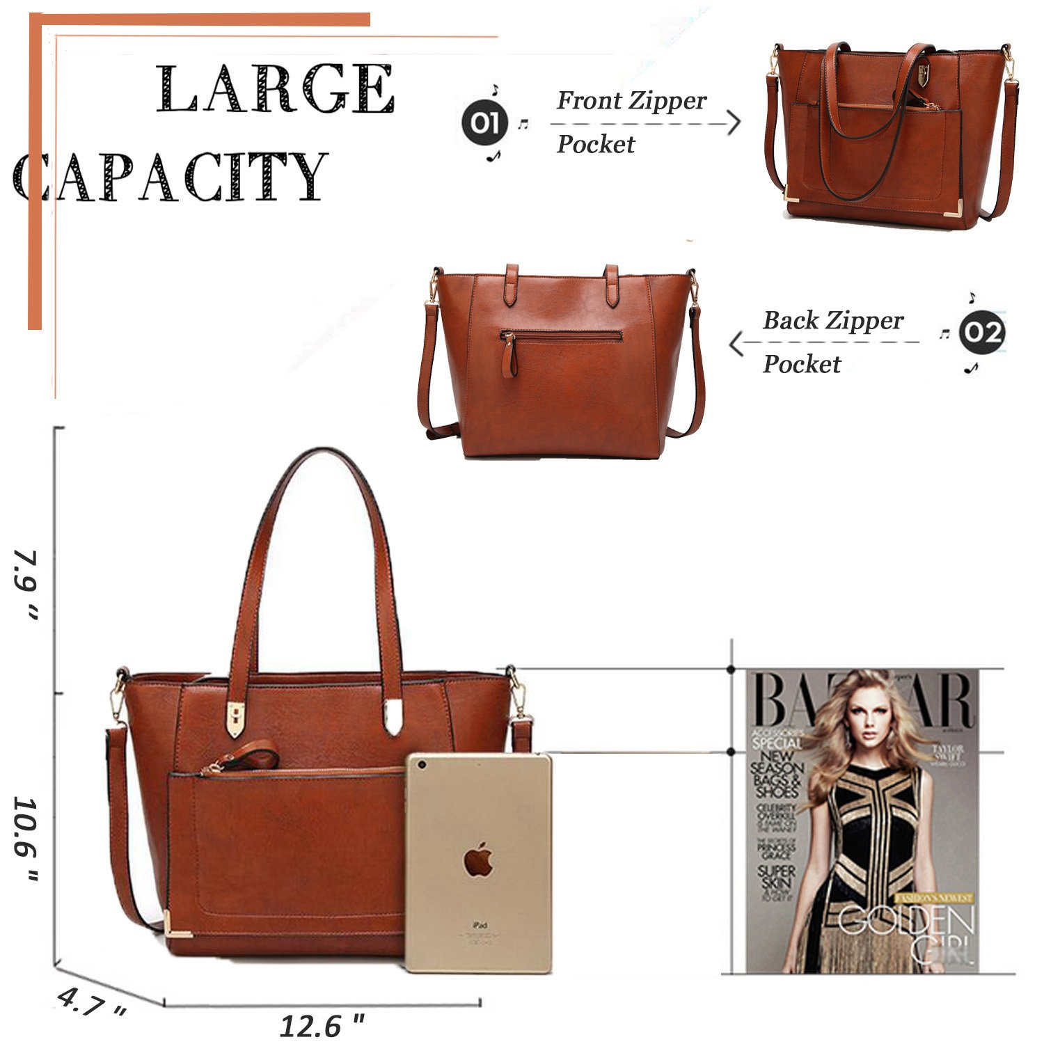 YNIQUE Women Top Handle Handbags Satchel Purse Tote Bag Shoulder Bag, Brown, Medium by YNIQUE (Image #6)