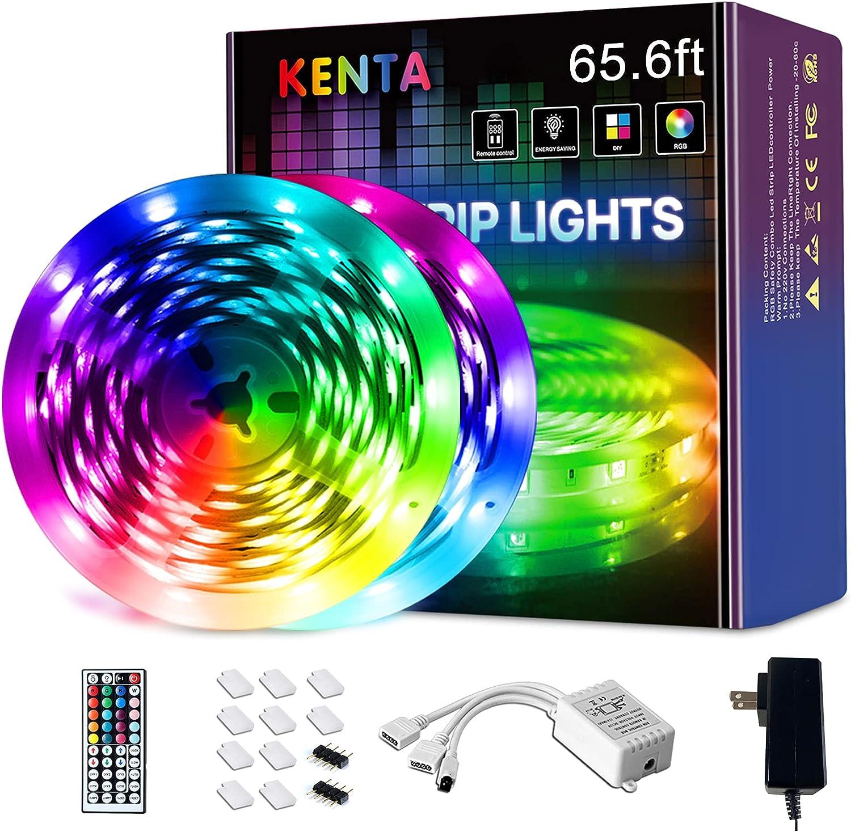 65.6ft Led Strip Lights ,KENTA Ultra Long RGB 5050 Color Changing Led Light Strips, Led Lights for Bedroom, Home, Kitchen, Dorm Room, Bar, TV , with 44 Keys Remote Control , DIY,
