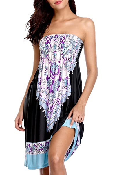 6b1704b4af2 Sociala Womens Strapless Cover Up Dress Bandeau Swimsuit Cover Up Beach  Coverups