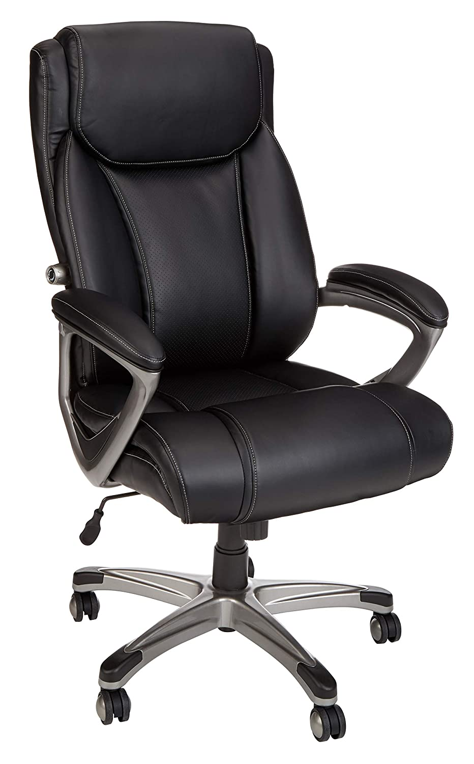 AmazonBasics Big & Tall Executive Chair - Adjustable with Armrest, 350-Pound Capacity - Black with Pewter Finish