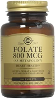 Solgar – Folate (as Metafolin) 800mcg Tablets, 100 Count, 2 Pack –