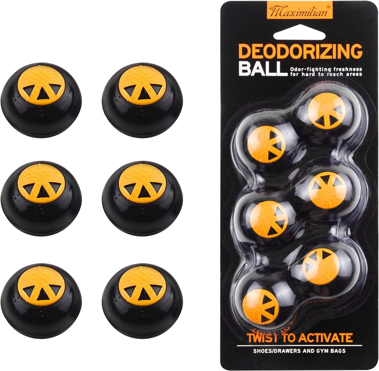 MAXIMILIAN Shoe Deodorizer Balls 6 Pack - Odor Eliminator, Freshener for Sneakers, Gym Bags, Lockers and Drawers