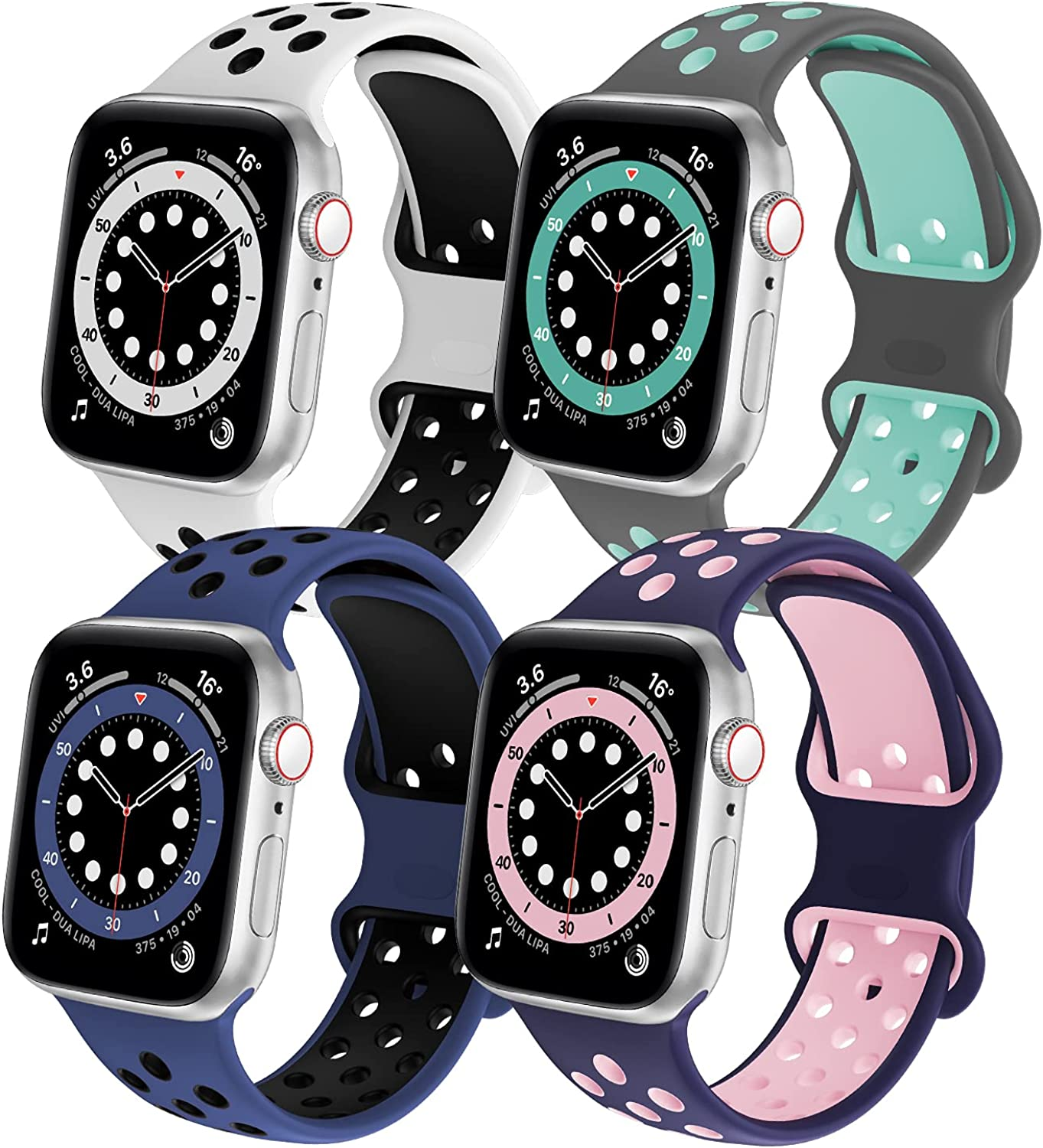 SWHAS Watch Bands Compatible with Apple Watch Bands 44mm 42mm 40mm 38mm for Women Men, Soft Silicone Replacement Strap Wristband Compatible for iWatch Series 6/SE/5/4/3/2/1