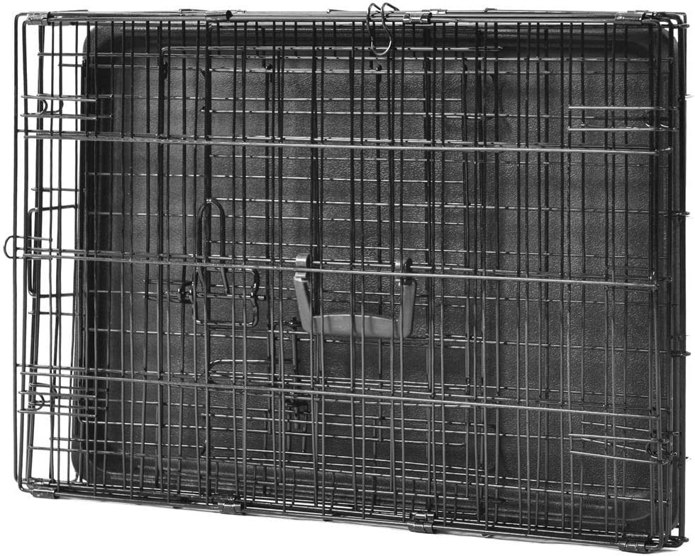 gerFogoo ZhuHaoKeJi 24-inch(M) Double Doors Metal Dog Crate Two Door Folding Dog Kennel Cage Easy Assembly Wire Mesh Pet Cage for Puppy Cats Rabbits Dogs Black