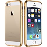 iPhone SE Case, Ubegood Ultra-Thin [Drop Protection]Shock Resistant [Metal Electroplating Technology] Soft Gel TPU iPhone SE Bumper Case for iPhone SE/5S Case cover- Gold
