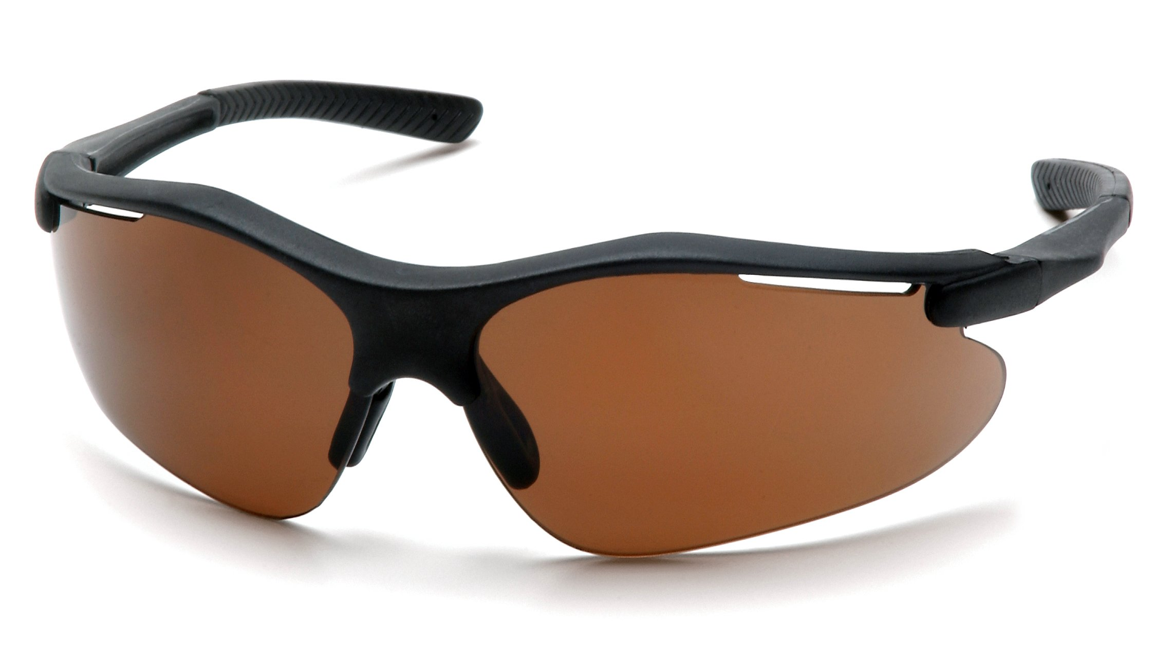 Pyramex Fortress Safety Eyewear, Coffee Lens With Black Frame