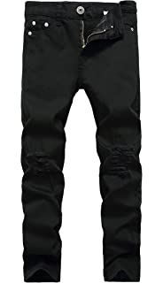 5 6 7 8 10 12 14 16 Boys Jeans Slim Straight Fit Elastic Waist Stretch Fashion Ripped Pants