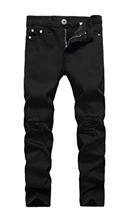 629639f0 Boy's Black Skinny Fit Ripped Destroyed Distressed Stretch Slim Jeans Pants