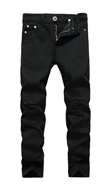 f97da3636a1 Boy's Black Skinny Fit Ripped Destroyed Distressed Stretch Slim Jeans Pants