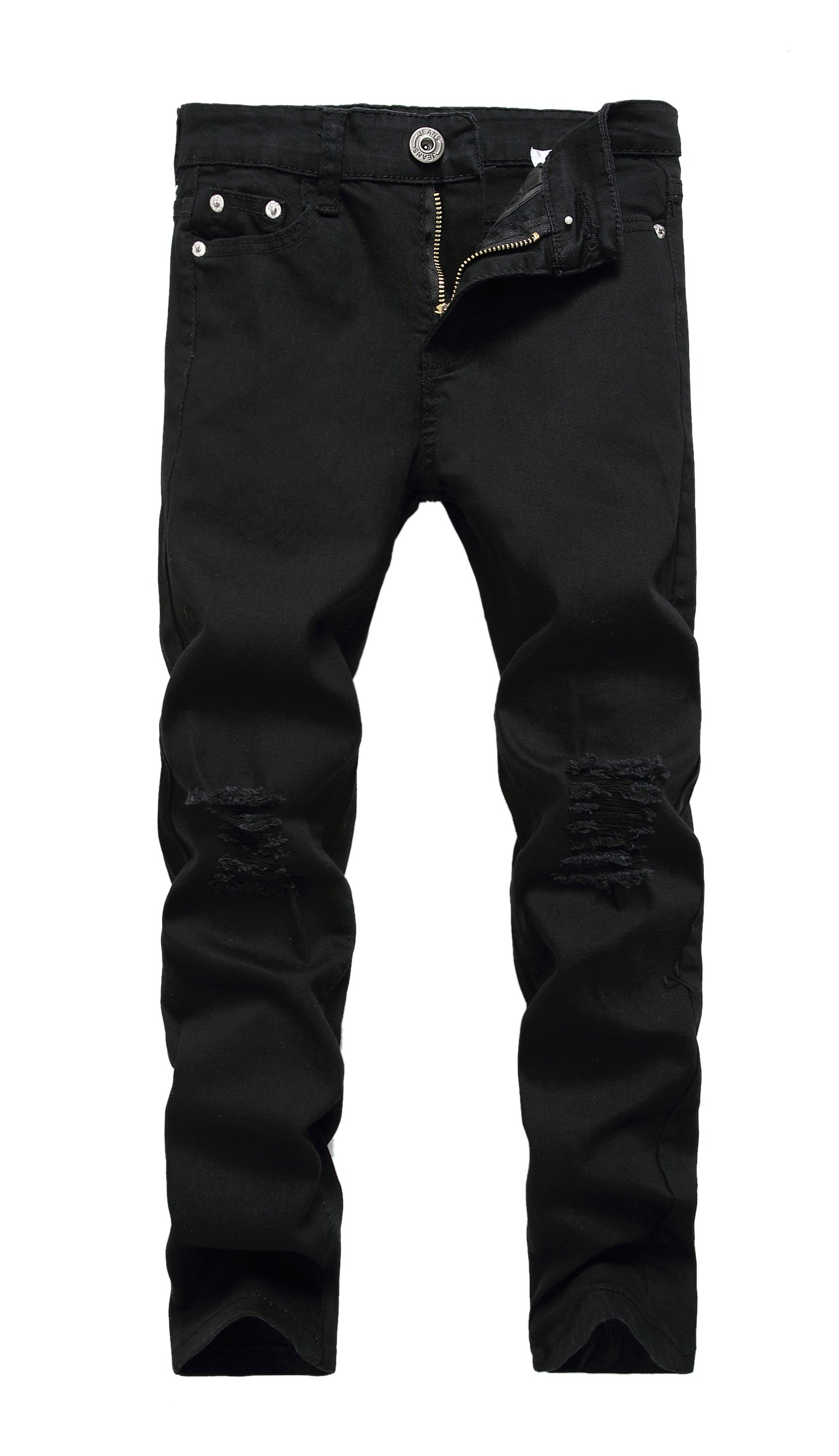 Boyu0026#39;s Black Skinny Fit Ripped Destroyed Distressed Stretch Slim Jeans Pants - EverAfterGuide.com