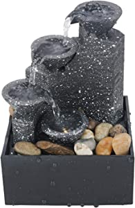 EKDJKK Meditation Tabletop Fountain with 3 Tiered LED Waterfall, Portable Home Office Decor for Tabletop, Kitchen Counter, Living Room Table, Bathroom Sink, Shelf