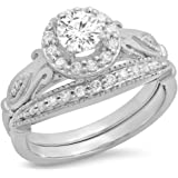 0.90 Carat (ctw) 14K Gold Round Cut White Diamond Ladies Bridal Halo Vintage Style Engagement Ring Set