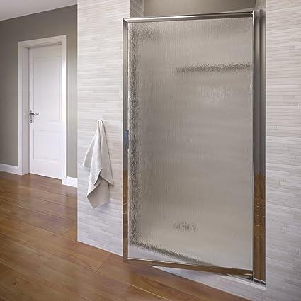 Basco Deluxe 22 75 24 5 In Width Glass Shower Door Rain Glass Silver Finish