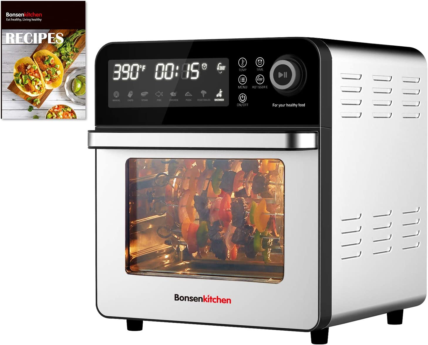 Air Fryer Toaster Oven, 1600W 8-IN-1 Air Fryer Oven, 15.3QT Bonsenkitchen Convection Roaster with Rotisserie & Dehydrator, Intelligent LED Touch Screen&7 Presets, 50 Recipes & 8 Extra Oven Accessory