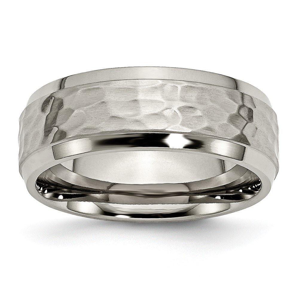 JewelryWeb Titanium Engravable 8mm Beveled Edge Hammered and Polished Band Ring - Size 7
