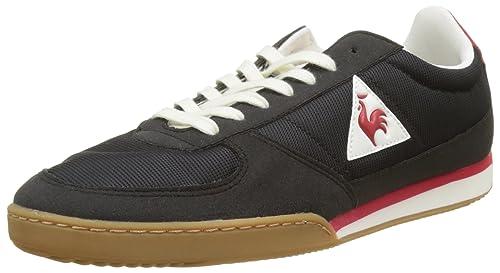 bcd0f41d21 Le Coq Sportif Men's Volley Retro Gum Bass Trainers, (Black/Vintage red Noir