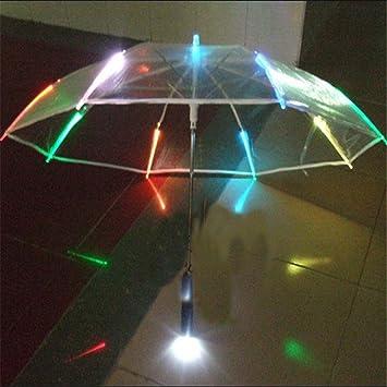 reinhar venta caliente nuevo 7 colors Changing LED luminoso transparente paraguas con linterna función un paraguas
