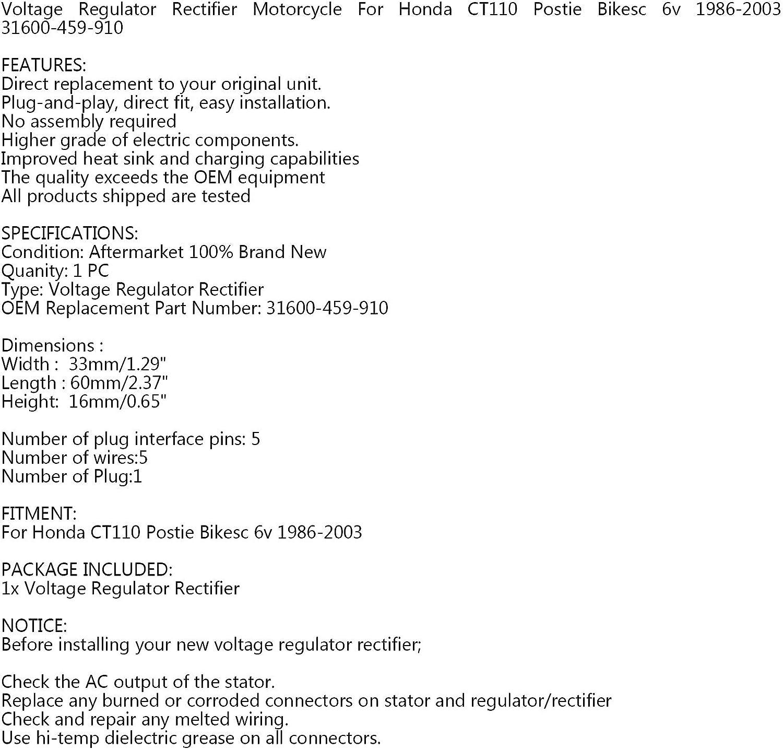 Areyourshop R/égulateur redresseur 6 V pour moto CT110 Postie 1986-03 31600-459-910
