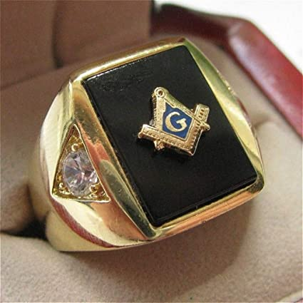 Hot Selling Natural Onyx 18kt Gold Filled Masonic Memorial religious Party ring