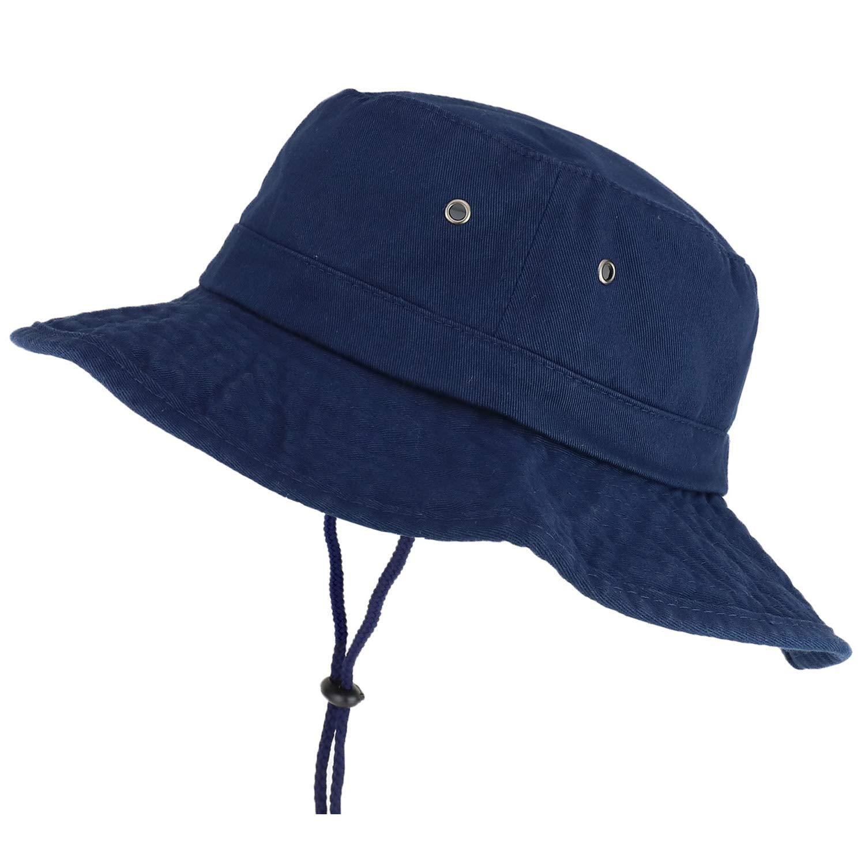Trendy Apparel Shop XXL Oversize Large Brim 100% Cotton Outdoor Boonie Hat - Navy - 3XL