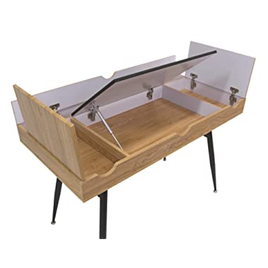 Calico Designs 51250 Nook Modern Desk with Multi Soft-Close Storage Compartments, Black Graphite/Ashwood