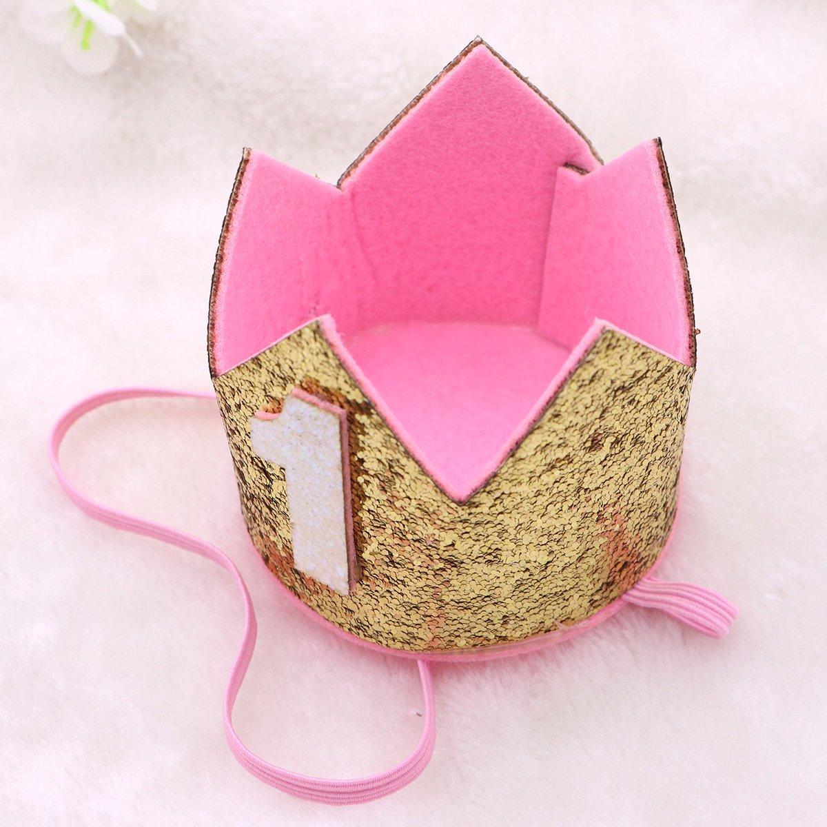 YeahiBaby pl/ástico Crown Primera fiesta de cumplea/ños Sombrero Princess Prince Crown Plata