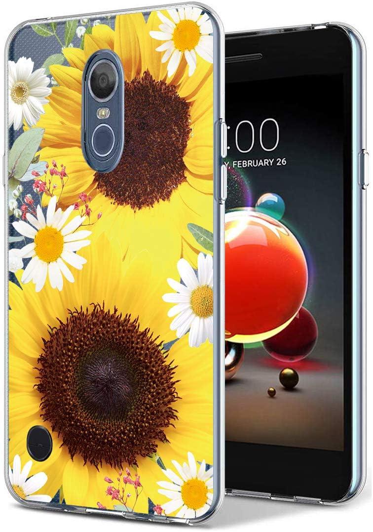 Case for LG Aristo 3/LG Aristo 2/LG Tribute Empire/LG Tribute Dynasty/Rebel 3 /Rebel 4 LTE, Ueokeird Slim Shockproof Clear Floral Soft Flexible TPU Phone Cover for LG Aristo 2 Plus (Sunflower)