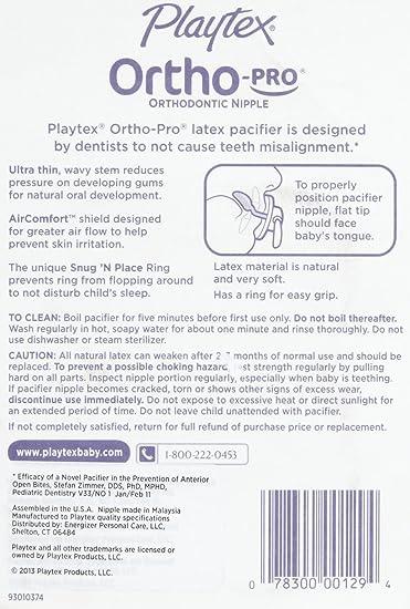 Amazon.com: Playtex Ortho Pro látex Chupete – 0 – 24 meses ...