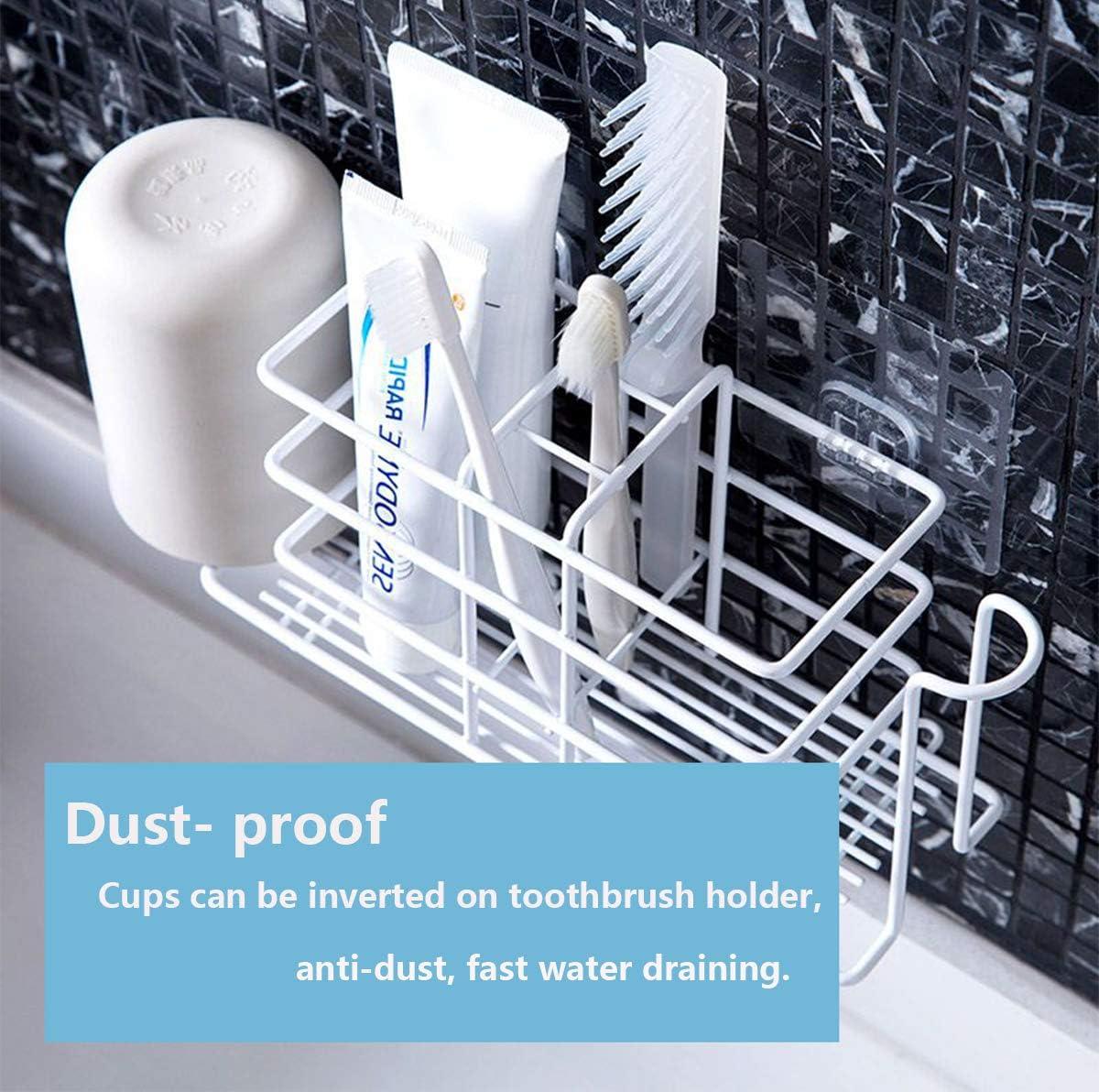 Bamyko Toothbrush Holder Toothpaste Holder Wall Mounted Stainless Steel Bathroom Storage Organizer White