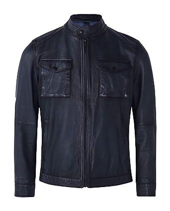 fadcf458562 Massimo Dutti Men Navy Blue Nappa Jacket with Pockets 3325/422 at ...