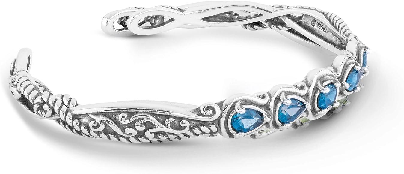 8486a7ade01 Carolyn Pollack Sterling Silver Blue Topaz Gemstone Five Stone Cuff  Bracelet Size Large