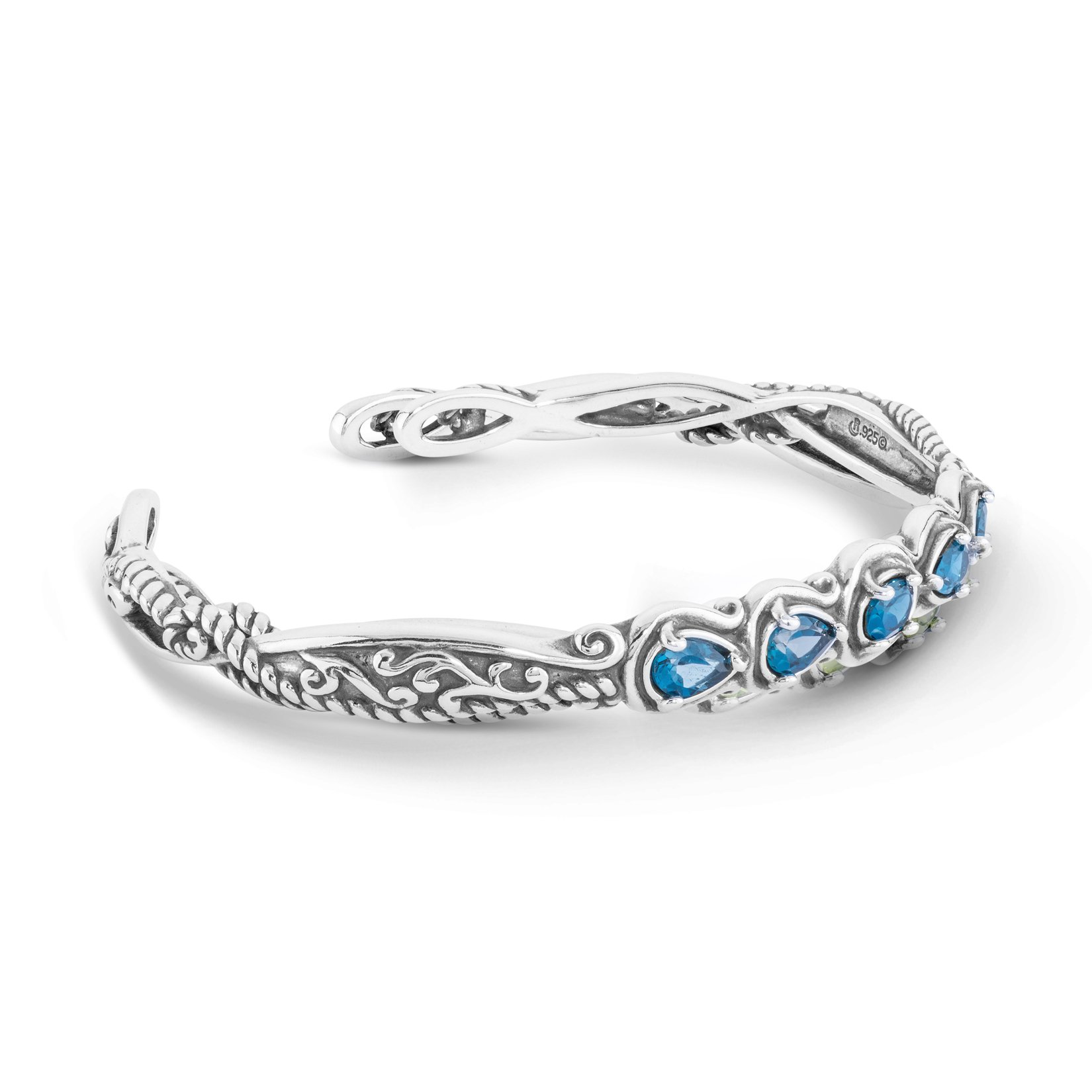 Simply Fabulous Sterling Silver & Faceted Blue Topaz Five Stone Cuff Bracelet