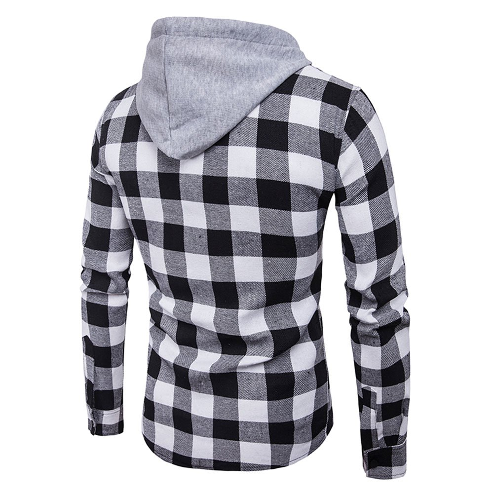 Bold Manner Unisex Shirt Gitter Hoodie Langarm Hemd Freizeit Mantel mit Kapuze