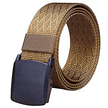 Fairwin - Cinturón táctico de lona de nailon para hombre, estilo militar, Brown-A