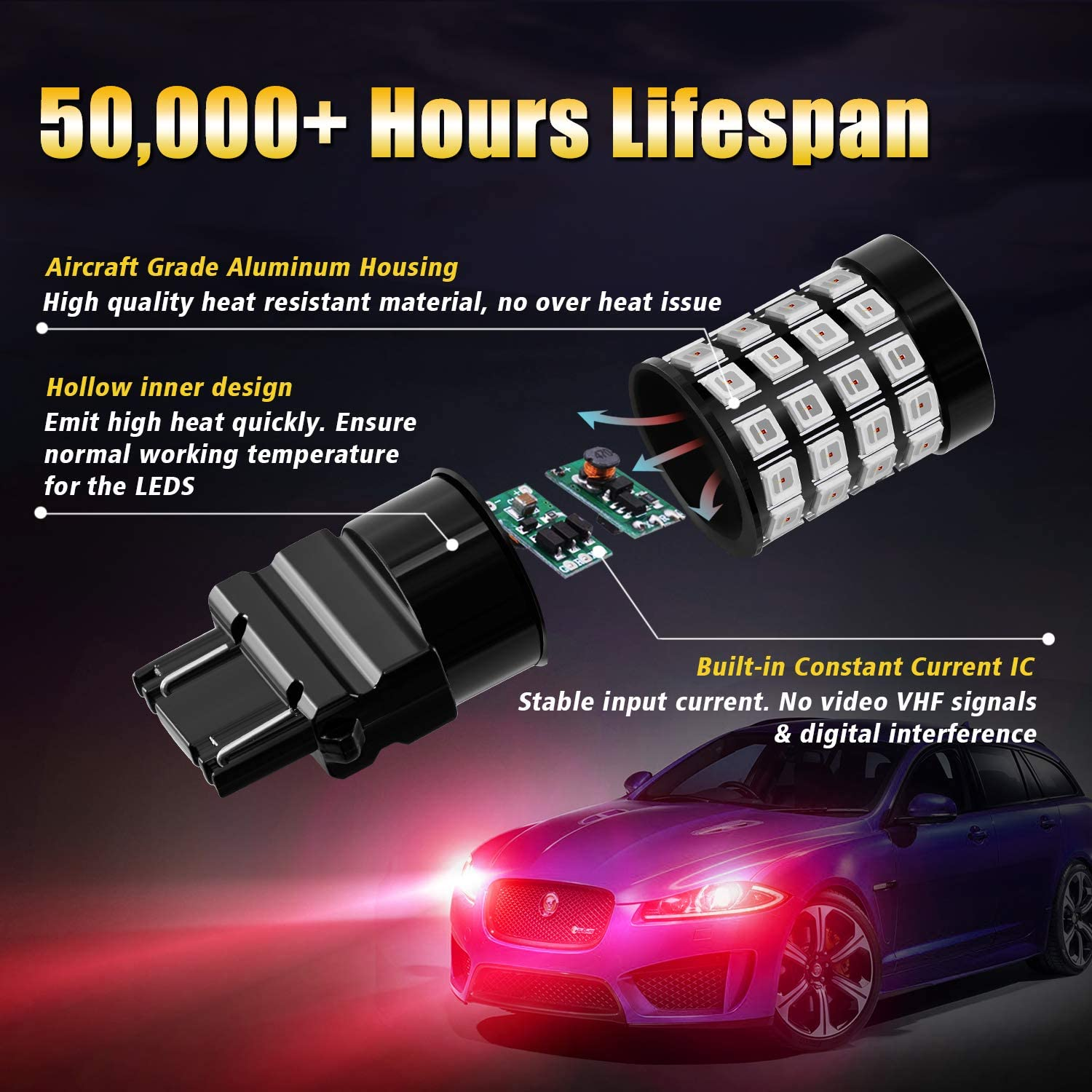Pack of 2 BRISHINE 3157 3156 3056 3057 3457 4157 4057 LED Flashing Strobe Blinking Brake Light Bulbs Brilliant Red Super Bright 52-SMD Chipsets LED Bulbs with Projector for Tail Stop Lights
