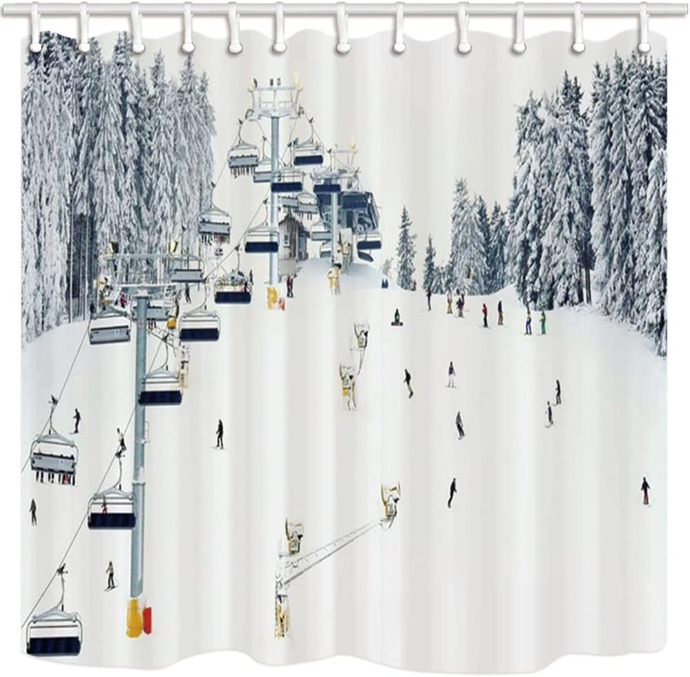 NYMB Sport Shower Curtain, Winter Holiday Travel Snow Mountain Skiing Cable Car, Polyester Fabric Snow Bath Curtain, Christmas Bathroom Shower Curtain Set with Hooks, 69X70in