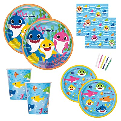 Baby Shark Theme Birthday Party Supplies Set for Boys or Girls - Serves 16 - Plates, Napkins, Cups and Candles - Dododo: Toys & Games