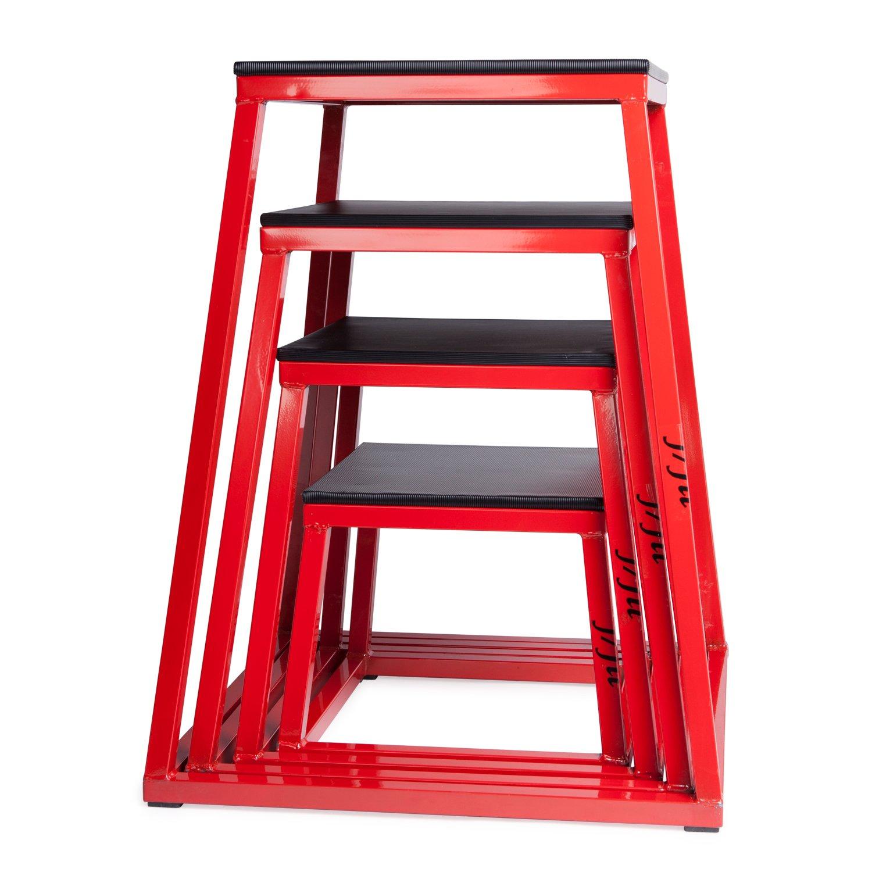 大注目 j/fit プライオメトリックトレーニング用ボックス j/fit - 単品 (高さ12インチ、18インチ Set Red/Black、24インチ)、セット品 (高さ30インチまで) B00C4YFD1G Box Set (12