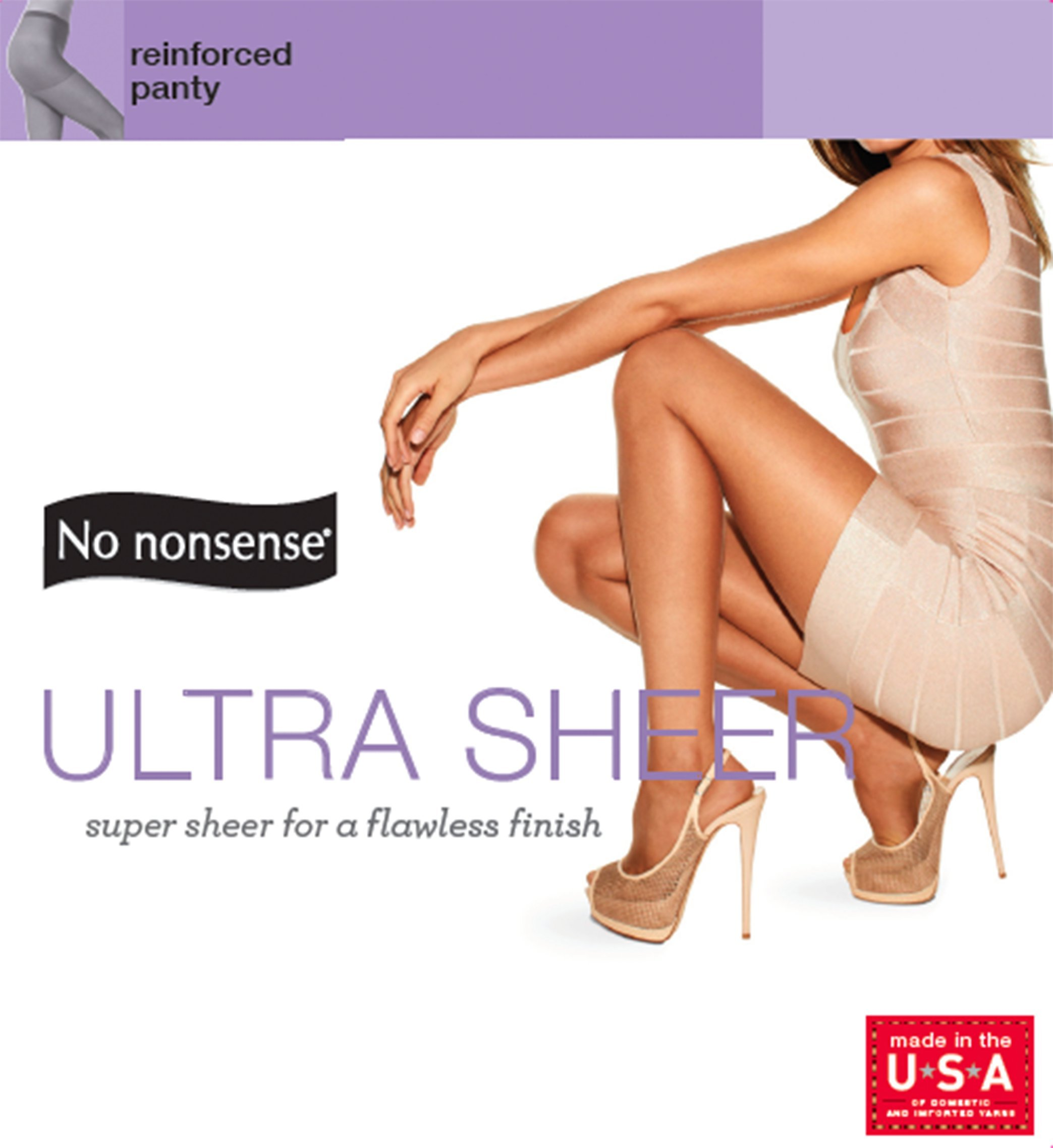 Pack of 6 No Nonsense Womens Regular Pantyhose with Reinforced Panty and Toe