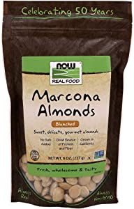 NOW Foods, Marcona Almonds, Gourmet Blanched Almonds, Sweet and Delicate, Source of Protein and Fiber, Grown in California, 8-Ounce
