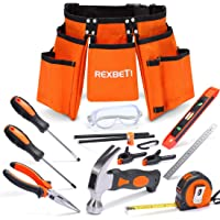 """REXBETI 15pcs Young Builder's Tool Set with Real Hand Tools, Reinforced Kids Tool Belt, Waist 20""""-32"""", Perfect Kids Learning Tool Kit for Home DIY and Woodworking"""