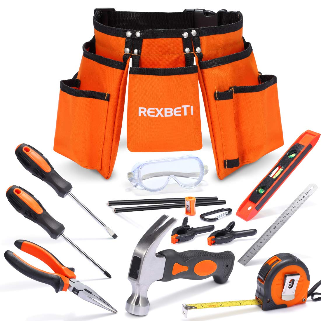 REXBETI 15pcs Young Builder's Tool Set with Real Hand Tools, Reinforced Kids Tool Belt, Waist 20''-32'', Perfect Kids Learning Tool Kit for Home DIY and Woodworking