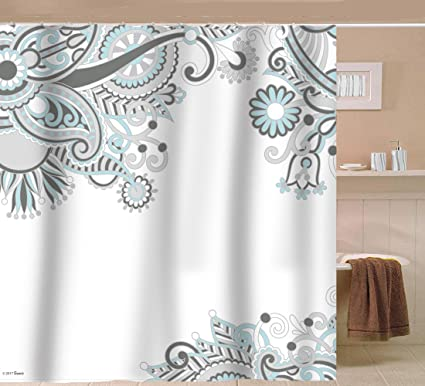 Sunlit Designer Floral Swirls Indian Print Fabric Shower Curtain Bohemian Ivy Leaves Buds Flowers Paisley Abstract