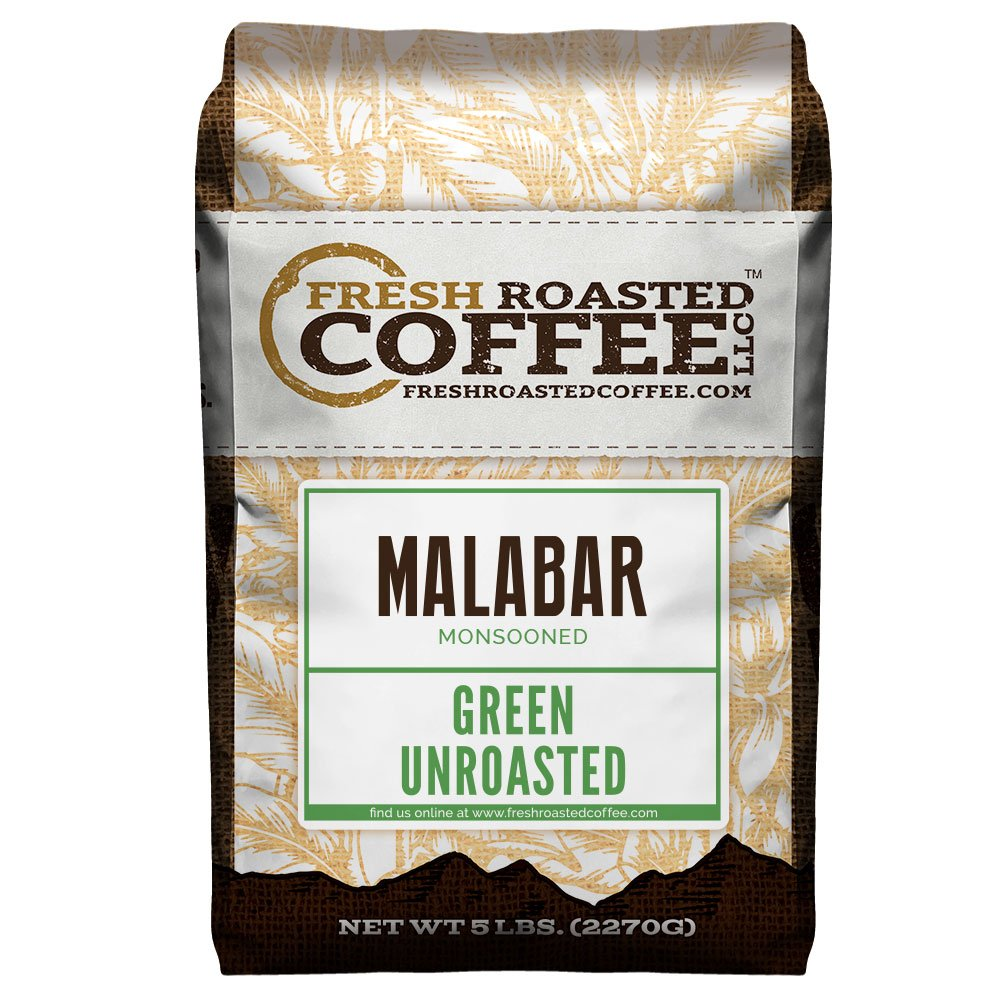 Fresh Roasted Coffee LLC, Green Unroasted Indian Monsooned Malabar Coffee Beans, 5 Pound Bag by FRESH ROASTED COFFEE LLC FRESHROASTEDCOFFEE.COM