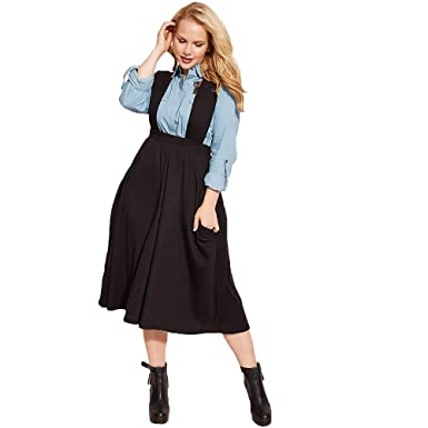 4e128e8bced Women s Casual Dungaree Skater Midi Black Skirt with Pockets Overalls Plus  Sizes at Amazon Women s Clothing store