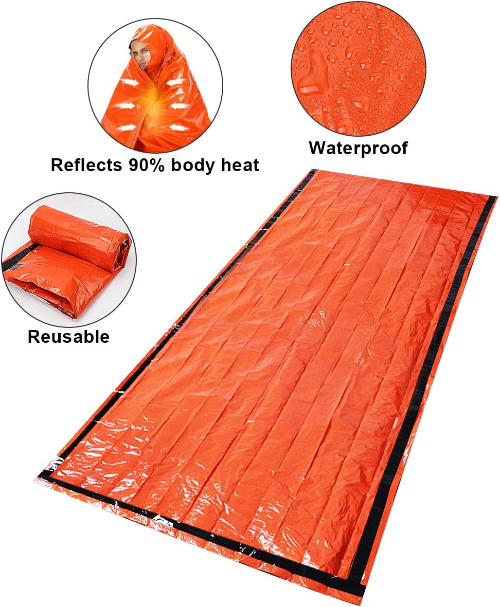 Timok Emergency Sleeping Bags Thermal-Emergency-BlanketsUltralight Space Blankets Survival Waterproof Bivy SackMulti-Purpose Survival Gear for Hiking, Camping, First Aid Kits, Outdoor Survival Gear: Kitchen & Dining