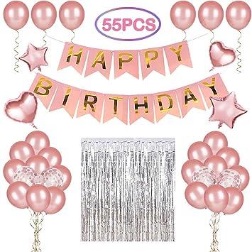 LEEHUR Globos OROS Rosas para Cumpleaños Fiesta Decoración para Cumpleaños con Globos de Aluminio de Corazónes y Estrellas, Bandera de Letra Happy ...