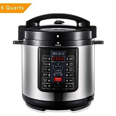 BILACA Electric Pressure Cooker 6 Quart 9-in-1 Multi-Use Programmable Pressure Cooker, Slow Cooker, Rice Cooker, Steamer, Yogurt Maker, Sauté and Warmer Includes Healthy Recipe Cookbook and Steam Rack