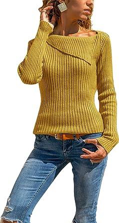 Suéter Mujer Otoño Invierno Blusa Asimétrica Manga Larga ...
