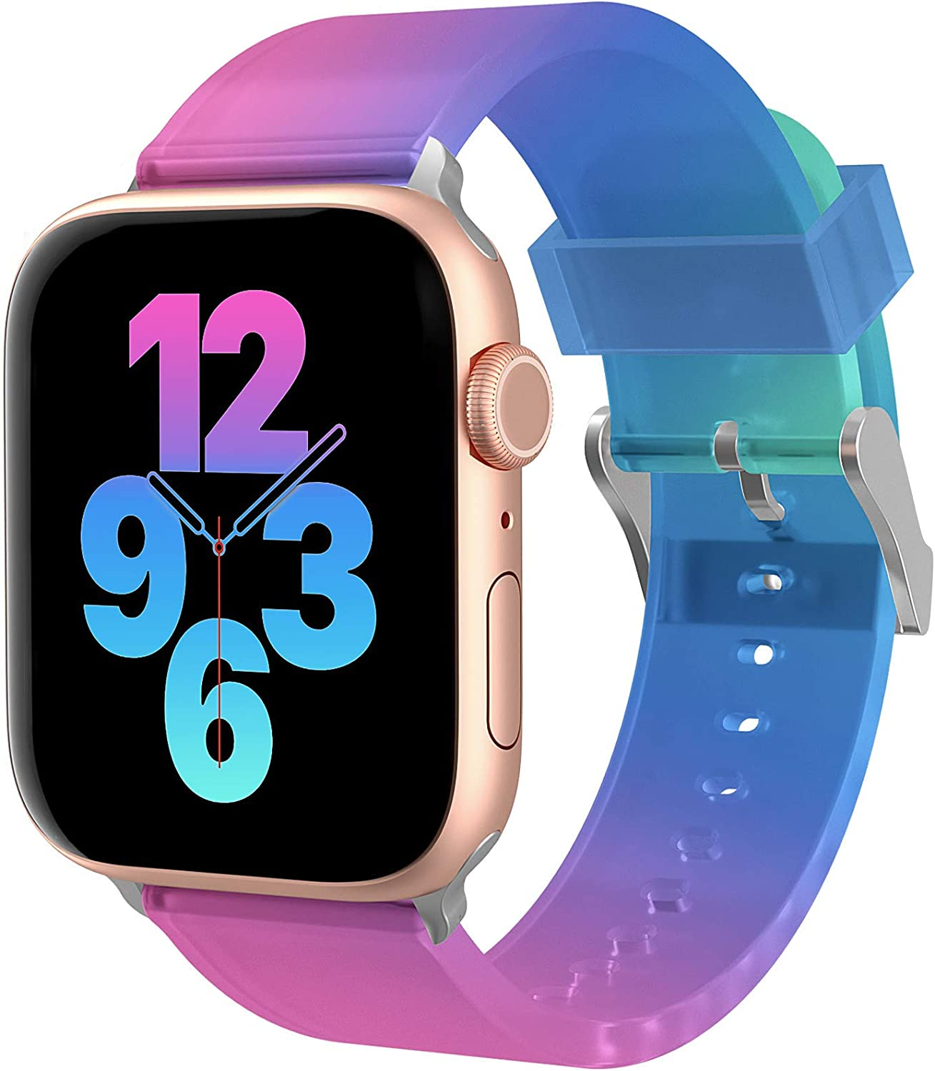 Ztacking Sport band Compatiable with Apple Watch Band 40mm 38mm for Women, Soft Silicone Fancy Replacement Wristbands Compatiable with iWatch Series3/6/SE/5/4/2/1, Purple-Blue-Green